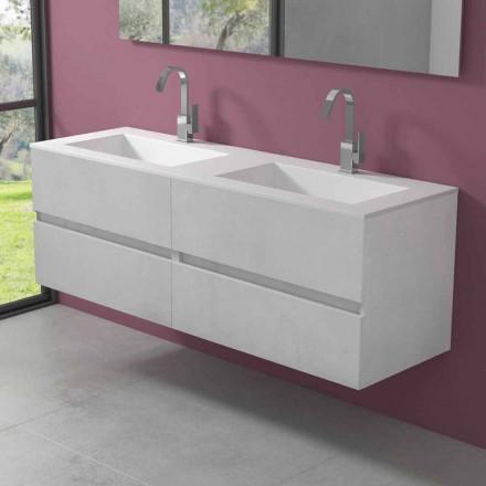 Abgehängter Badezimmerschrank mit Doppelwaschbecken, modernes Design in 4 Ausführungen - Doublet
