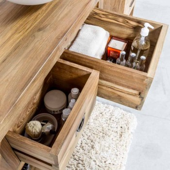 Badezimmerschrank aus natürlichem Teakholz mit 2 Schubladen - Faetano
