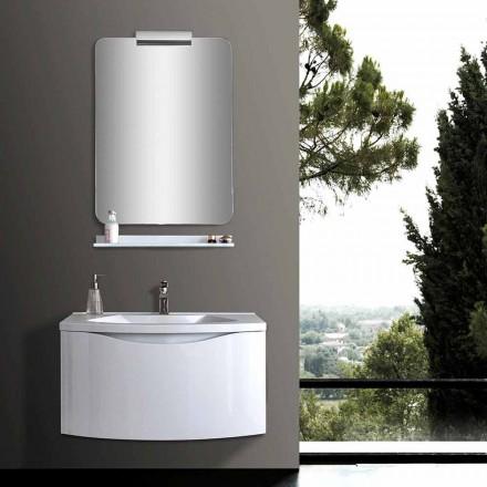 Weißer moderner hängender Badezimmerschrank mit Waschbecken, Regal, LED-Spiegel - Michele