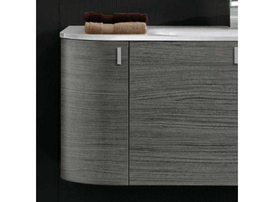 Abgehängte Badezimmerschrank mit 1cestone + 2ante Waschbecken in Happy Eiche