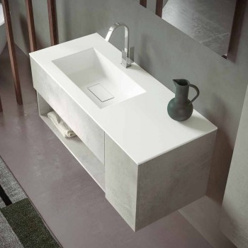 Abgehängter Badezimmerschrank und integriertes Waschbecken, modernes Design in 4 Ausführungen - Pistillo