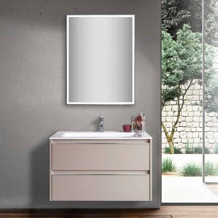 Taubengraues Badezimmerwaschbecken aus Holz und Mineralmarmor mit LED-Spiegel - Alfonso