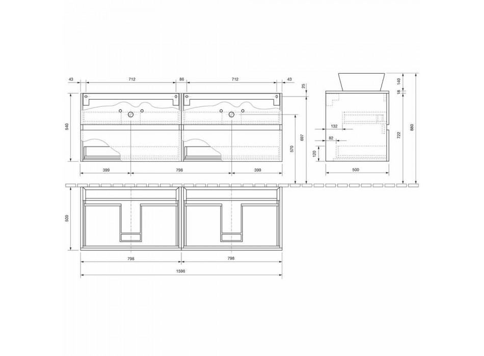 Abgehängter Badezimmerschrank mit Doppelwaschbecken - Mandrillo