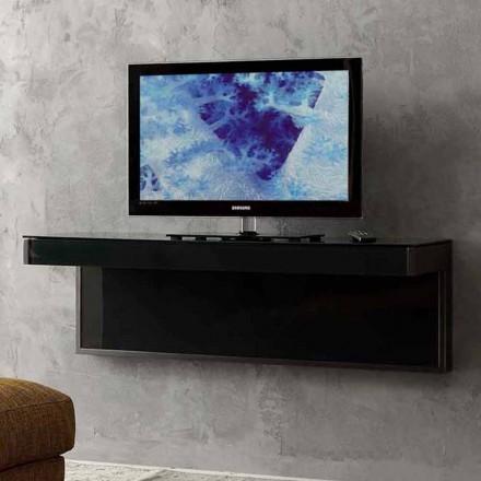 Wand-TV-Schrank aus schwarzem Kristall und Metall Made in Italy - Americio