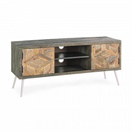 TV-Ständer aus Holz mit Griffen und Füßen aus Stahl Homemotion - Adiva
