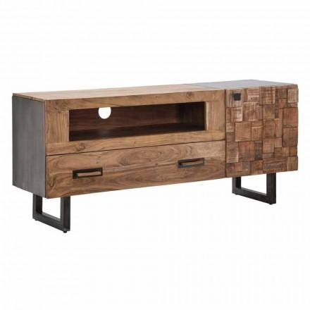 Moderner TV-Ständer aus Eisen und Akazienholz mit Schublade und Tür - Deanna