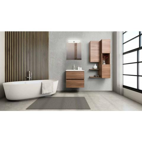 Hängende Design Badezimmermöbel in Melamin Nussbaum - Becky