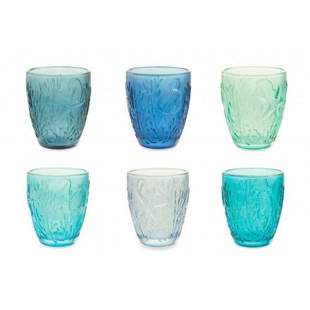 Moderne blau gefärbte Gläser 12 Stück Water Service - Mazara
