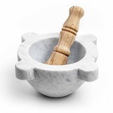 Mörser aus weißem Carrara-Marmor mit Holzstößel Made in Italy - Winda