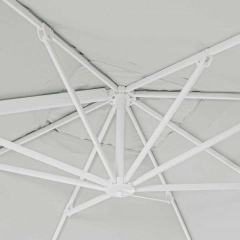 3x3 Sonnenschirm aus weißem Aluminium und Polyester - Fasma