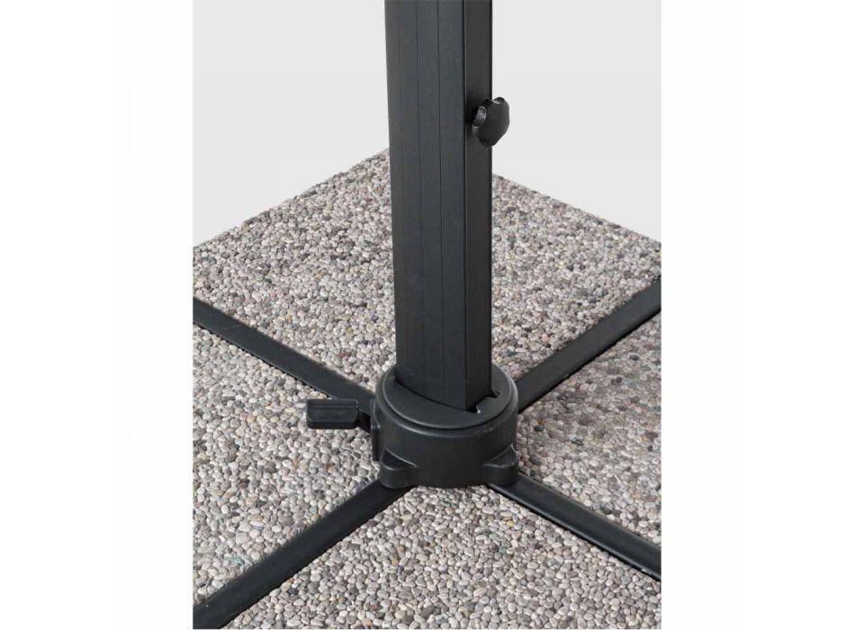 Außenschirm 4x4 aus hellgrauem Polyester und Aluminium - Daniel