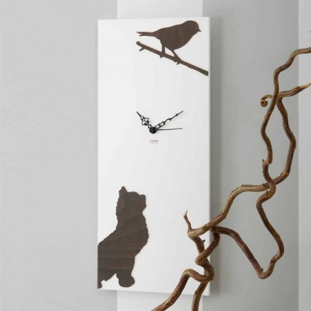 Weiße Wanduhr mit hölzernen Tierdekorationen Modernes Design - Spannung