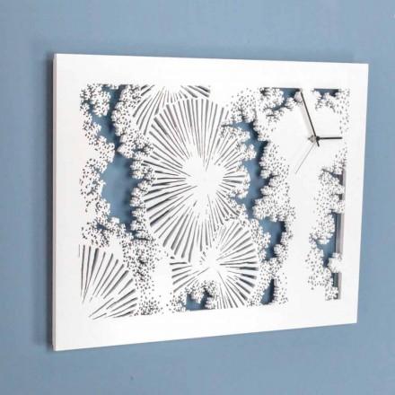 Design Wanduhr aus weißem Holz oder rechteckiger Taube - Artificio