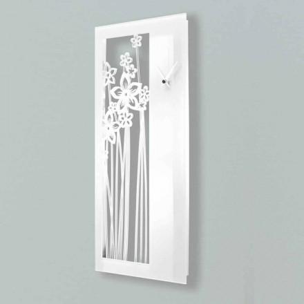 Moderne Wanduhr mit rechteckigem Design aus weißem Plexiglas - Elara