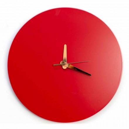 Rote Wanduhr mit italienischem rundem und modernem Design in Holz - Callisto