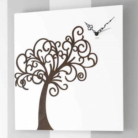 Weiße quadratische hölzerne Design-Wanduhr mit Baum - Alberoeden