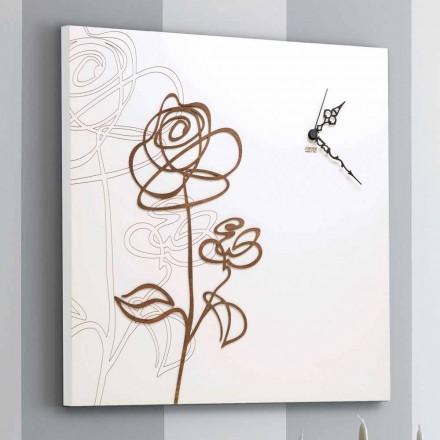 Weiße quadratische hölzerne Wanduhr mit moderner Rosendekoration - Schneeglöckchen