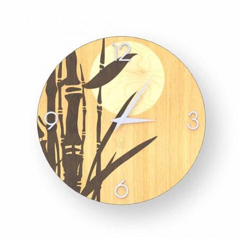 Atina Wanduhr aus verziertem Holz, Design made in Italy