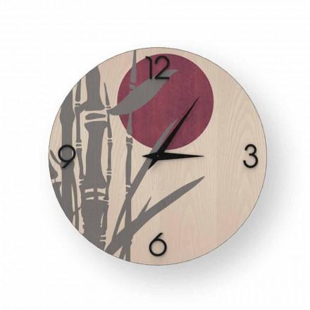 Atina Design-Wanduhr aus verziertem Holz, hergestellt in Italien