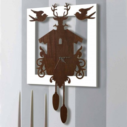 Modernes Design Wanduhr in dunkel und weiß verziertem Holz - Märchen