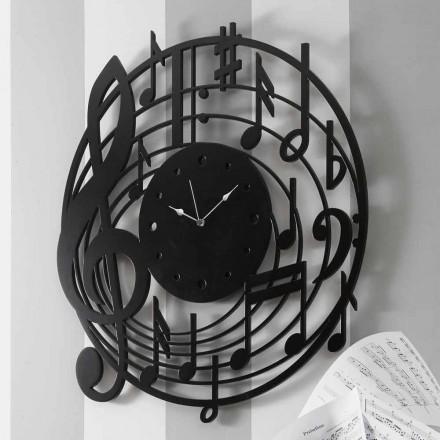 Runde schwarze Wanduhr des modernen Designs in verziertem Holz - Musik