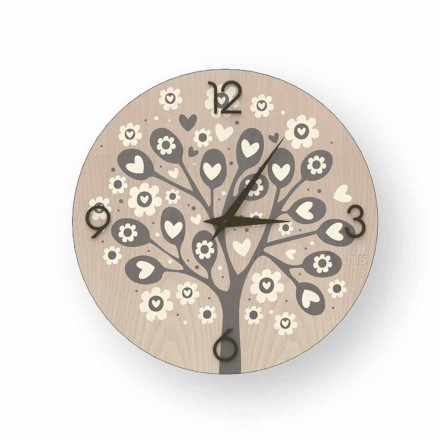"Wanduhr ""Tree Of Heart"" aus Holz, hergestellt in Italien"