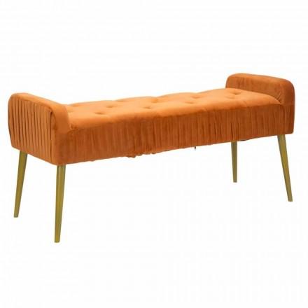 Moderne rostfarbene rechteckige Bank aus Stoff und Holz - Zack