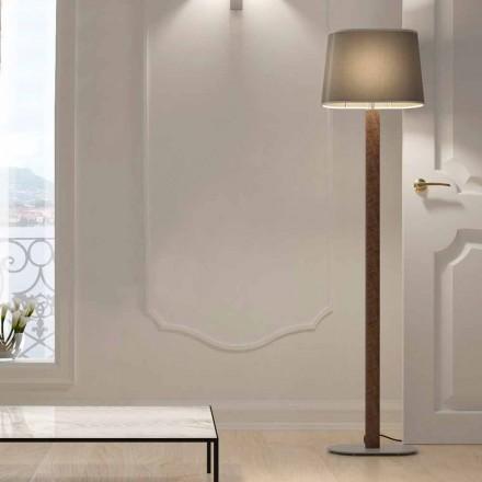 Modernes Design Stehleuchte aus Metall mit Stoff Lampenschirm Made in Italy - Jump