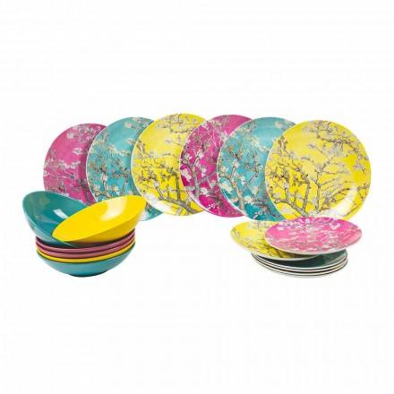 Farbige Porzellan- und Steinzeugplatten Moderner Tischservice 18 Stück - Nagoya