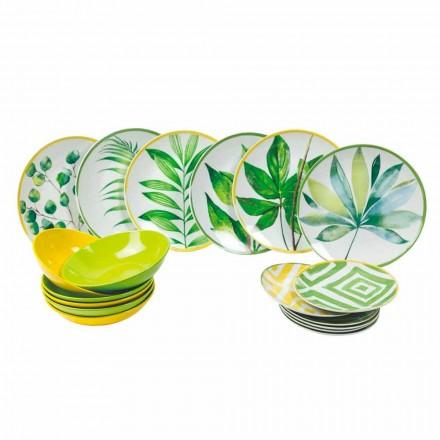 Farbige Teller aus Porzellan und Gres Modern Service Komplett 18 Stück - Albore