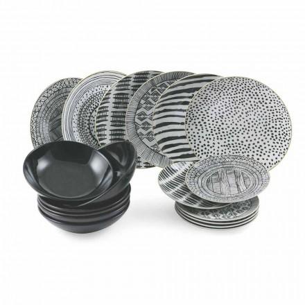 Teller aus Porzellan und schwarzem Steinzeug Kompletter Tischservice 18 Stück - Tribu