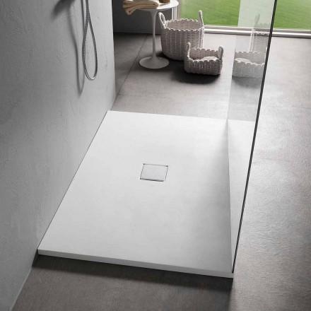 Resin Duschwanne 120x80 in Modern White Velvet Effect Finish - Estimo