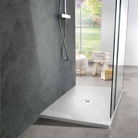 Duschwanne 120x90 Modernes Design in Schiefer-Effekt aus weißem Harz - Sommo
