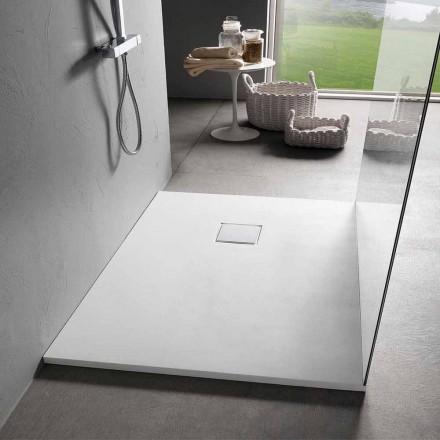 Moderne Duschwanne 120x90 in Resin White Velvet Effect Finish - Estimo