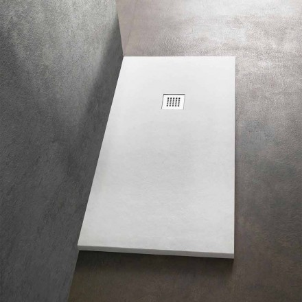 Duschwanne 170x70 aus Stein-Effekt-Harz mit Stahlgitter - Domio