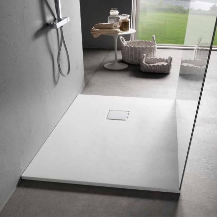 Duschwanne 90x70 aus weißem Harz mit Samteffekt und Ablaufabdeckung - Estimo