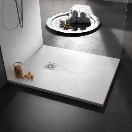Moderne Duschwanne 90x80 in Harz-Effekt Stein und Stahl - Domio