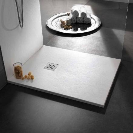 Moderne Duschwanne 120x80 in Harz-Effekt Stein und Stahl - Domio