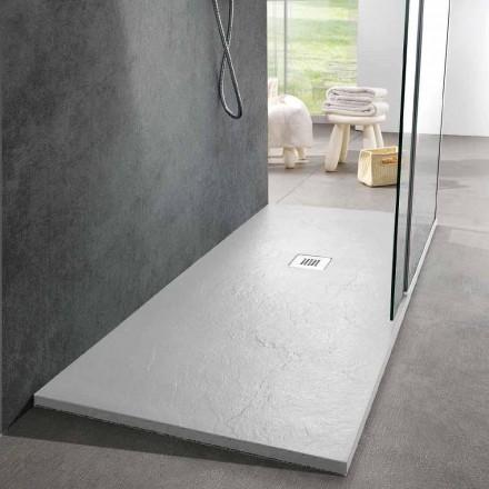 Moderne Duschwanne 170x80 Schiefer-Effekt-Finish aus weißem Harz - Sommo