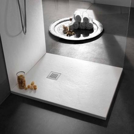 Quadratische Duschwanne 80x80 aus Harz mit modernem Stein-Effekt-Finish - Domio