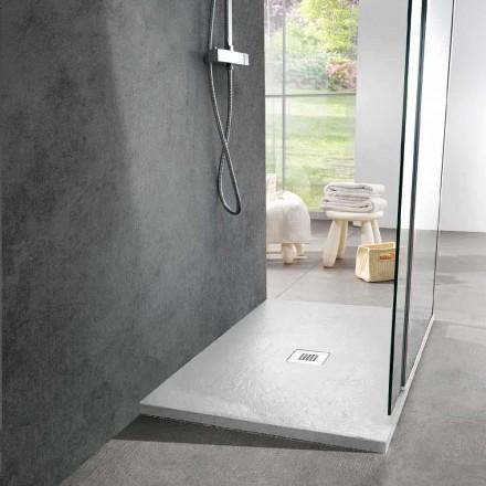 Rechteckige Duschwanne 100x80 in Schiefer-Effekt aus weißem Harz - Sommo