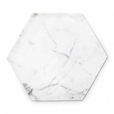 Sechseckige Designplatte aus weißem Carrara-Marmor Made in Italy - Sintia