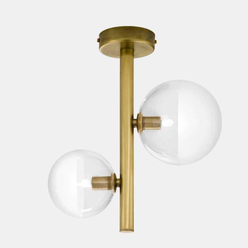 2-flammige Deckenlampe aus Glas und natürlichem Messing Made in Italy - Molecola von Il Fanale
