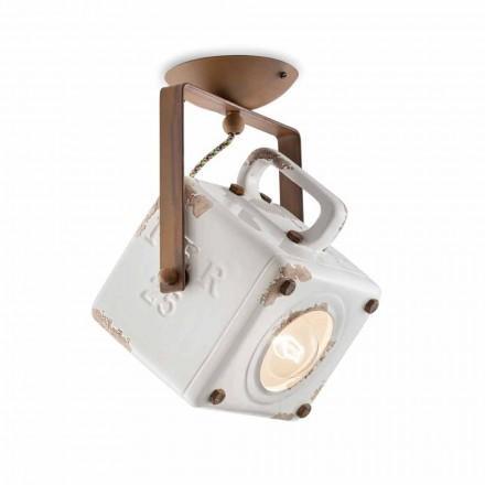 Deckenlampe viereckig verstellbar im Vintage Stil Kaylee Ferroluce