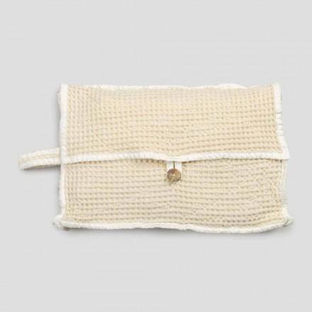 Natürliche weiße Waben-Baumwoll-Clutch-Tasche mit Perlmuttknopf - Anteha