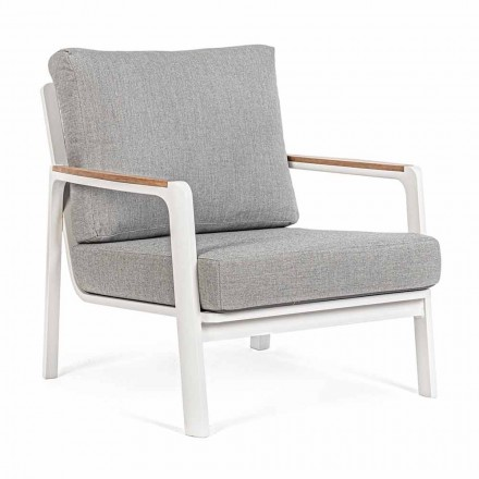 Outdoor-Sessel aus Aluminium, Teak und Stoff, Homemotion, 2 Stück - Cara