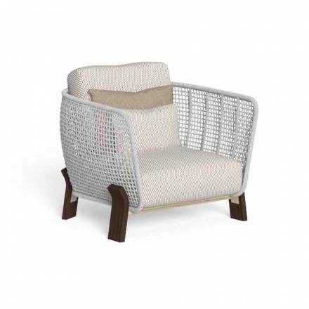 Outdoor-Sessel aus Seil, Stoff und Edelholz - Argo von Talenti