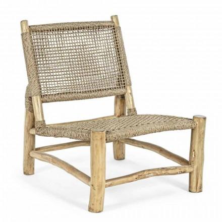 Outdoor-Sessel aus Teakholz und Kunstfaser, 2 Stück - Tecno