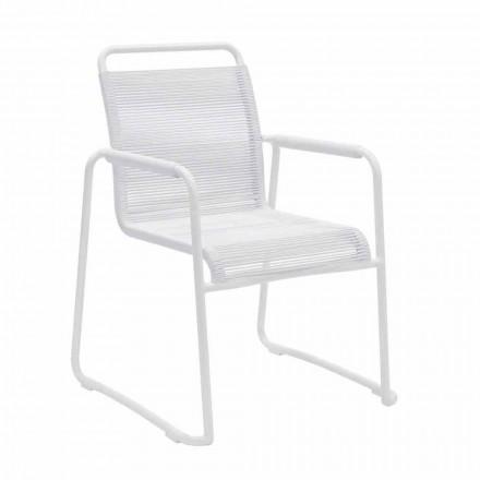 Gartenstuhl aus weißem Aluminium Modernes Design Stapelbar - Wisky