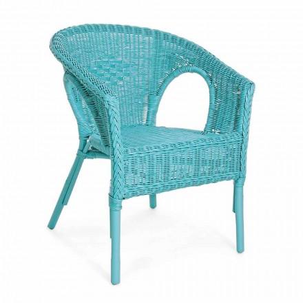 Stapelbarer Design Weiß / Blau / Grün Rattan Garten Sessel - Favolizia